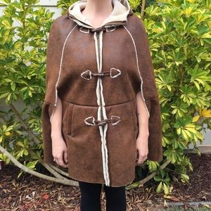 ASOS womans cape winter faux leather Sherpa size 4